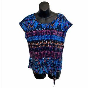 🌸 3/$20 Jessica multicolored tie up shirt
